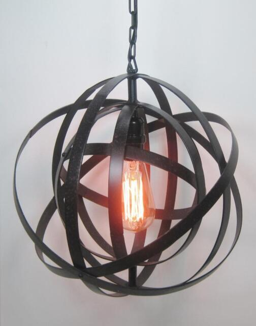 15 Metal Collapsible Hanging Sphere Light Fixture With Edison Bulb Electric