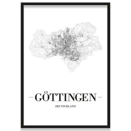 Göttingen JUNIWORDS Stadtposter Kunstdruck Plan Map Weiß