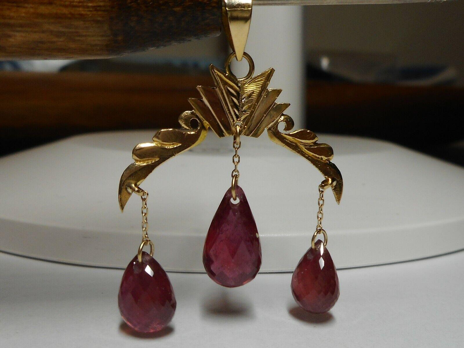 14kt Ruby Briolette Cut Drop Dangle Pendant Antique