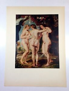 1954-Vintage-Full-Color-Art-Plate-034-THE-Three-Graces-034-by-Rubens