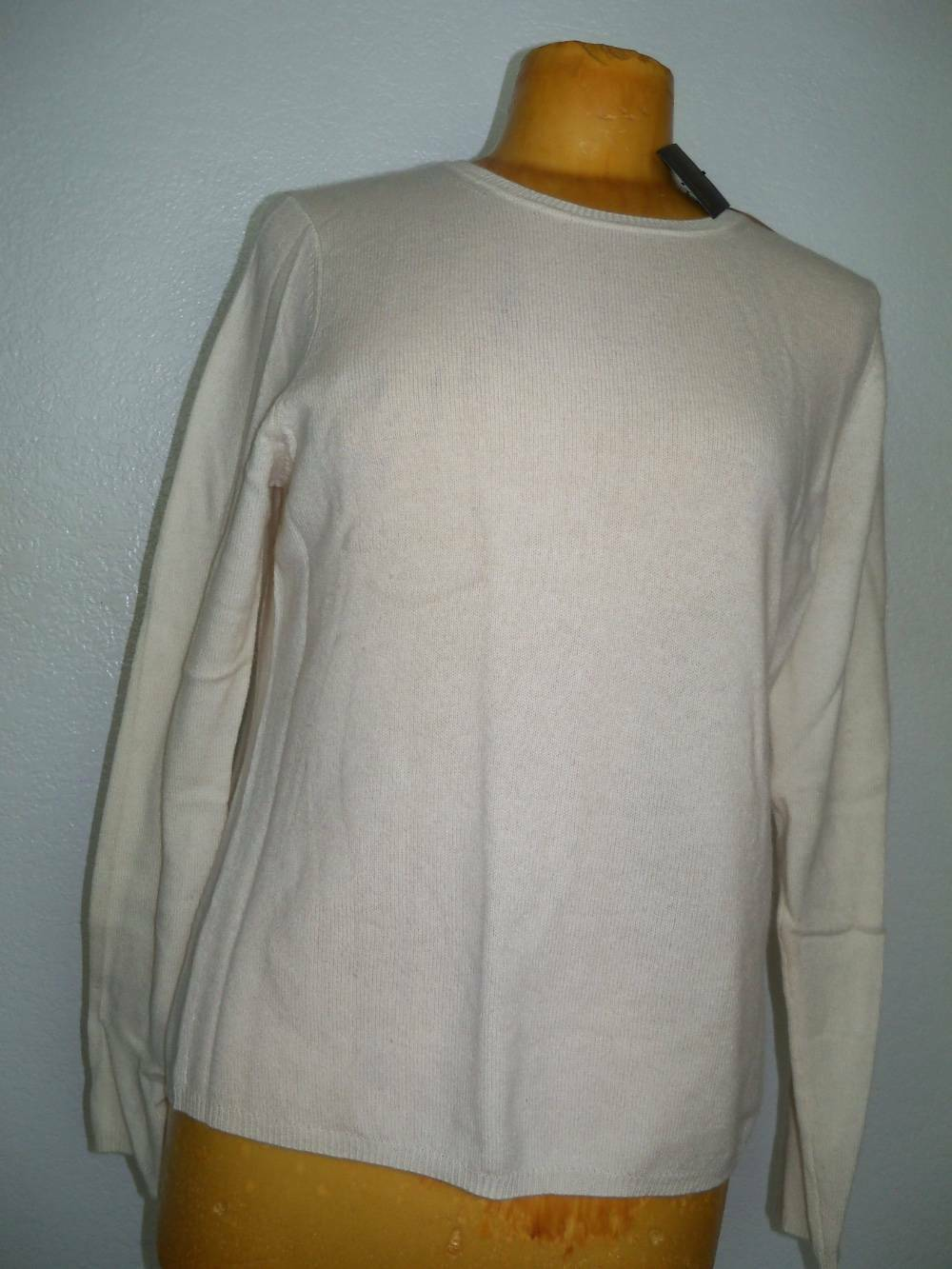 NEW  Womens Large CHARTER CLUB LUXURY Ivory Cashmere Sweater