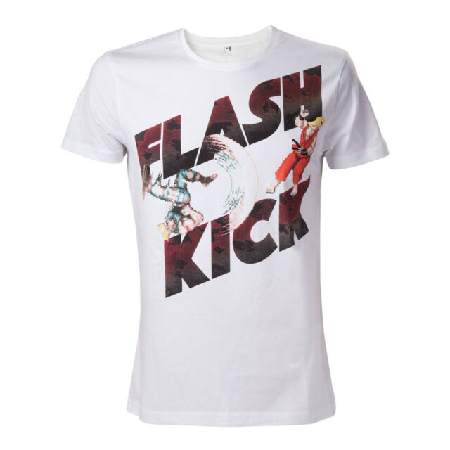 NEW! Capcom Street Fighter Iv Guile's Flash Kick T-Shirt Medium White TS507856SF