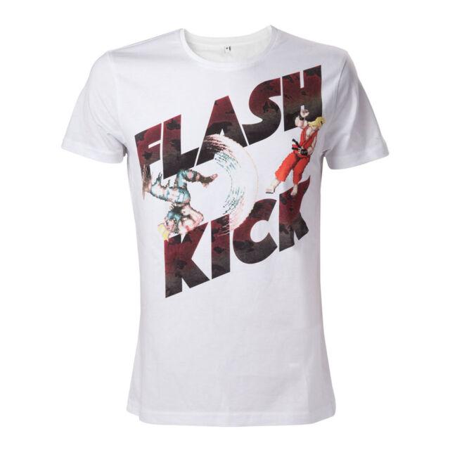 NEW! Capcom Street Fighter Iv Guile's Flash Kick T-Shirt Medium White TS507856SF