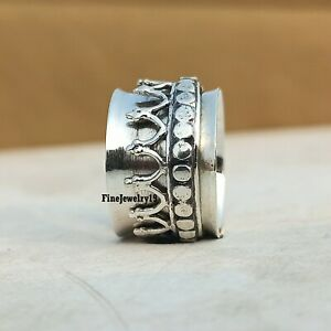 925-Sterling-Silver-Spinner-Ring-Wide-Band-Meditation-Statement-Jewelry-A251