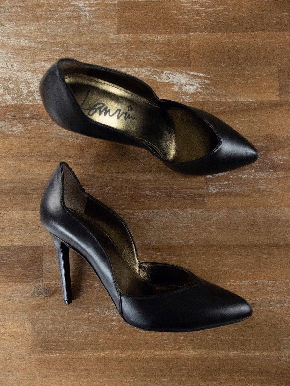 LANVIN -skor med med med svart läder är autentiska - Storlek 7.5 US   39.5 FR   38.5 EU  billig butik