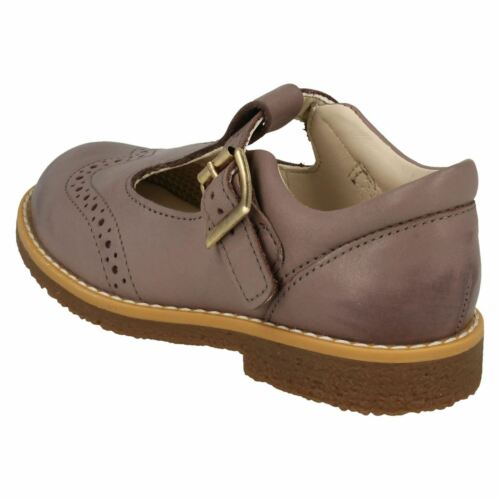 Girls Clarks Comet Reign Pink Leather T-Bar First Walking Shoes