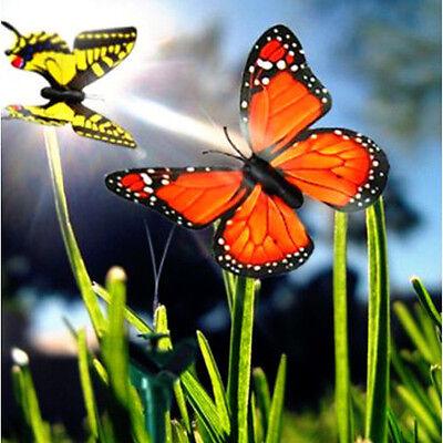 HQRP 2 Solar Powered Flying Fluttering Butterfly Orange&Yellow for Garden Plants