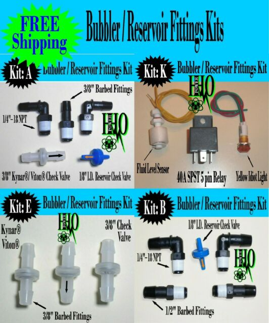 Reservoir Fittings Kits & Accessories; HHO Deluxe Bubbler Dry Cell Check Valves