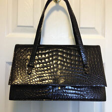 AUTH VINTAGE DELVAUX FERMOIR BREVETE BLACK EXOTIC CROCO LEATHER HANDBAG SATCHEL