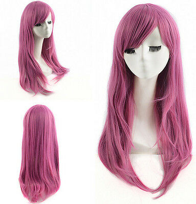 Dark Pink Long Natural Layered Synthetic Hair None Lace Wigs