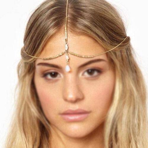 Women Gold color Metal Bohemian Belly Dance party Hair Head Cuff Headband Chain