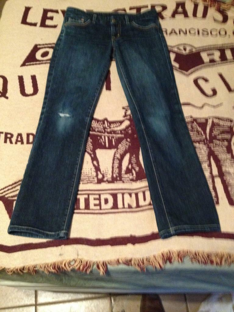 DISTRESSED LOW WAIST STRIGHT LEG CITIZENS OF HUMANITY SIENNA STRETCH SZ 28