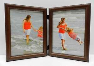8x10 Cherry Finish Double Hinged Vertical Wood Photo Picture Frame