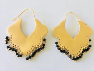 18K-Gold-on-925-Sterling-Silver-Gemstone-Earrings-Hoop-Ethnic-Tribal-Black-Onyx