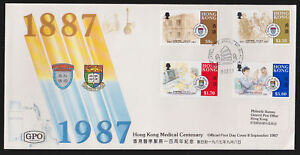 Hong Kong 1987 FDC Official GPO Cover Full Set 4 values Medical Work Centenary - Leyburn, United Kingdom - Hong Kong 1987 FDC Official GPO Cover Full Set 4 values Medical Work Centenary - Leyburn, United Kingdom