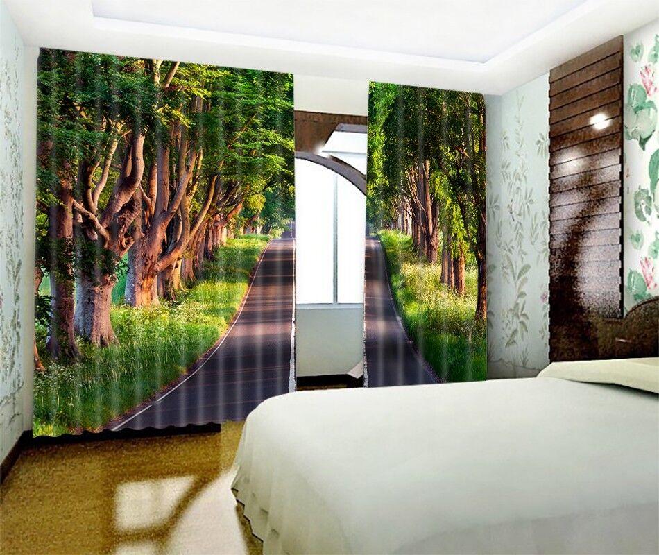 3D camino forestal 423 Cortinas de impresión de Cortina Blockout Foto Tela Cortinas Ventana au