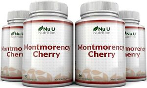 Montmorency Cherry 90 Capsules 4 Bottles, Not Extract, Freeze Dried, No Fillers