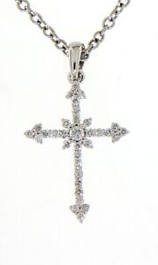 Solid Real Natural Diamond 14K White Gold 0.20CT Cross Religious Fancy Pendant
