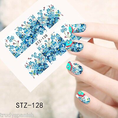 Nail Art Water Decals Wraps Blue White Summer Flowers Floral Gel Polish 128 Ebay