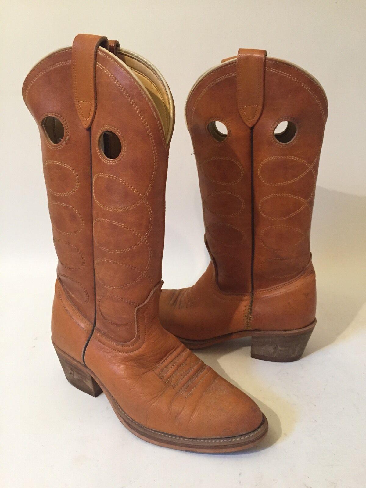 Vintage Brown Leather Cowboy Boots Sz 8 D *DIAMOND IN HEEL* Unique!