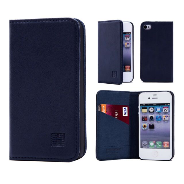ab92bd2285 Classic Style Real Leather Book Wallet Case Cover for Apple iPhone 4 ...