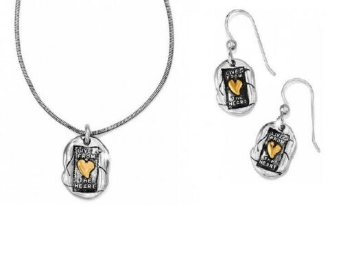 NWT Brighton LIVING HEART Silver Gold Necklace Earrings Set Lot  MSRP $68