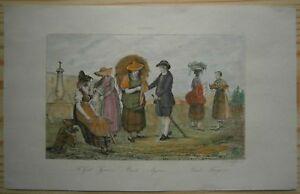 1838 print SWISS FOLK COSTUMES: ST. GALLEN, GENEVA, VAUD, AARGAU & THURGAU (#63)