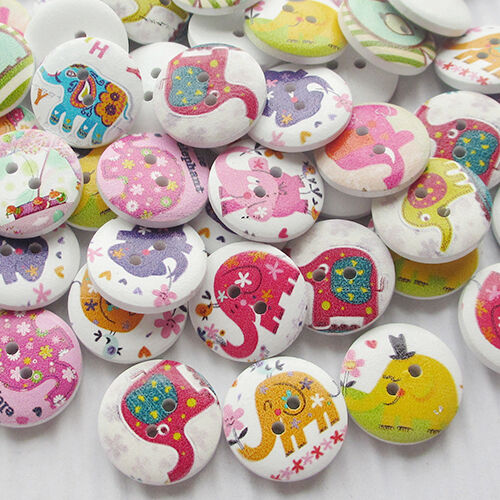 New 10//50//100pcs Elephant Wood Buttons 20mm Sewing Craft Mix Lots T0696