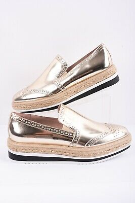 Zara Silver Flat Shoes with Brouge Detail,Size 39,40,41