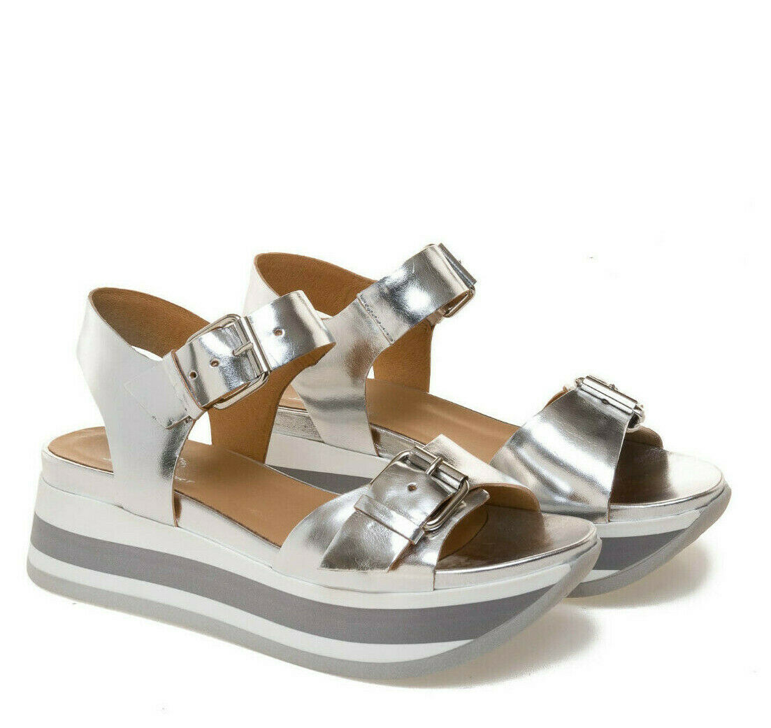 JANET SPORT 43757 - Sandalo zeppa NALA  Color plata ELETTRA suola zapatilla de deporte