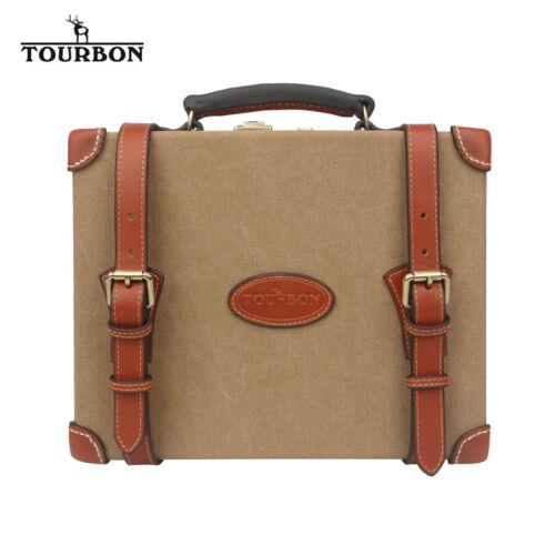 TOURBON 200 Round Shotgun Cartridge Storage Box Bullet Ammo Case Canvas/&Leather