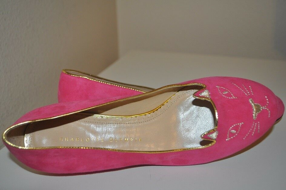 NEW CHARLOTTE OLYMPIA Kitty Embroidered PINK Suede Slippers Flat Shoe 38 / 8