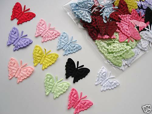 100 Satin Butterfly Embossed Applique//trim//dress//quilting//sewing//craft//bow L24