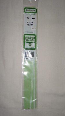 """of 10 Item #110 Evergreen Scale Models Styrene Strips .015 x .020 14/"""" Long Pkg"""