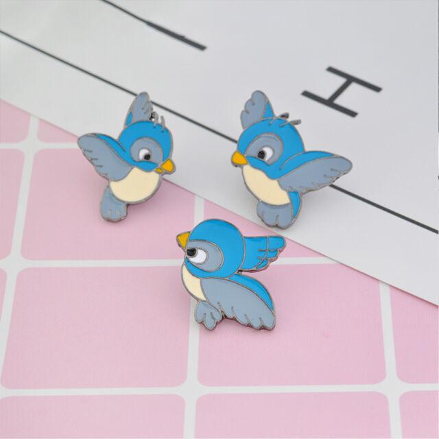 3 Pcs/Set Cute Cartoon Alloy Blue Bird Pattern Brooch Pin Collar Badge Kids Gift