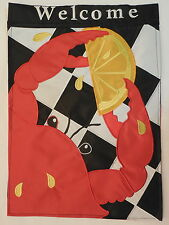 """""""WELCOME"""" Red Crab w/ Lemon on Black & White Checked Table Cloth sewn HOUSE flag"""