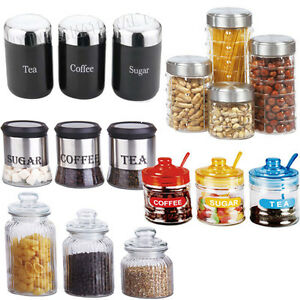 Image Is Loading 3pc 4pc Canister Set Stainless Steel Coffee Tea