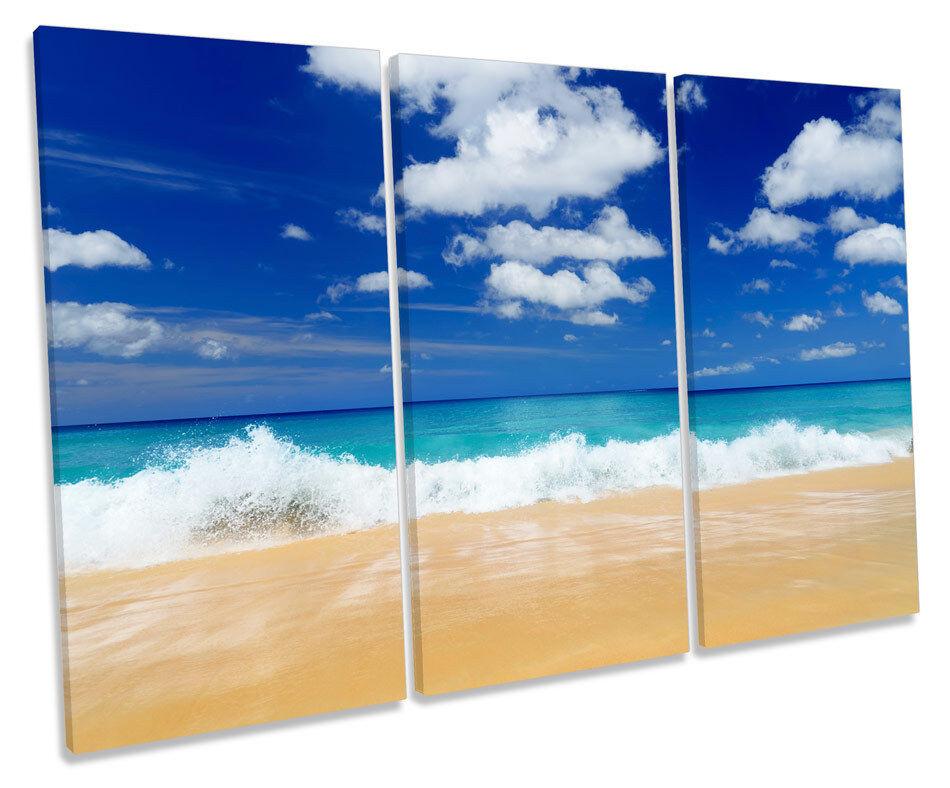 Beach Seascape Modern Blau CANVAS WALL ART TREBLE Box Frame Print