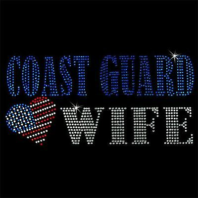Hot Fix Motif Coast Guard Wife Rhinestone Transfer