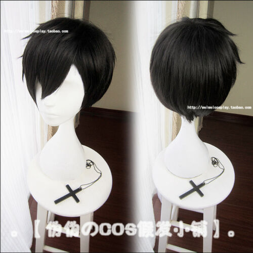 Japan Anime Caligula SHIKISHIMA RITSU Black Wig Daily Cosplay Short Hair 28cm