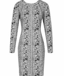 Reiss-Fion-Snake-Print-Dress-in-Black-White-Cocktail-Mini-Bodycon-Structured-10