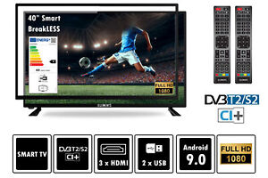 "Elements Fernseher LED Android Smart TV 40"" Zoll Full HD DVB-T2/S2, bruchfest"