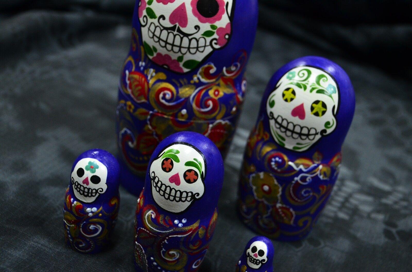 New Matryoshka Babushka, Russian nesting dolls, Unique, skull, handmade
