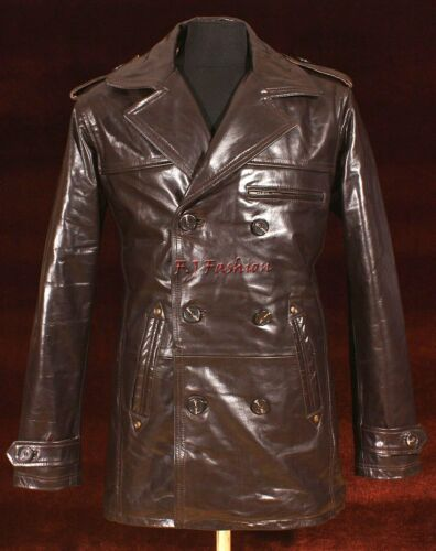 Anthony Brown Men/'s New Smart Double Breasted Real Cowhide Glazed Leather Jacket