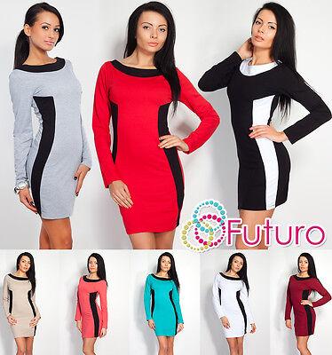 Classic & Elegant Women's Dress Boat Neck Long Sleeve Tunic Size 8-12 8308 StraßEnpreis