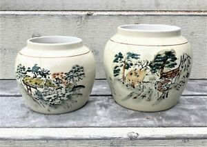 Set-of-Vintage-Japanese-Painted-Ceramic-Ginger-Jar-Planter-Vase-Pot-Rural-Scene