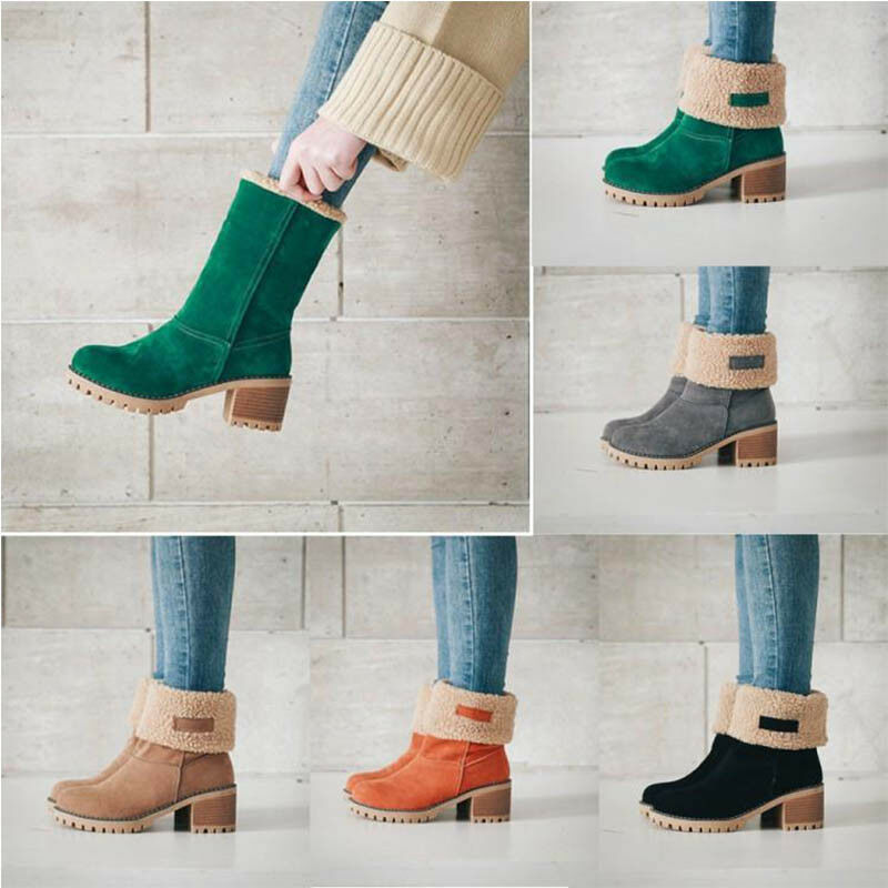 Womens Faux Suede Block Heel Warm Snow Winter Boots Casual Ankle shoes Round Toe