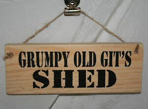 Grumpy/'s Shed Antique Style Wall Mounted White Plaque Sign