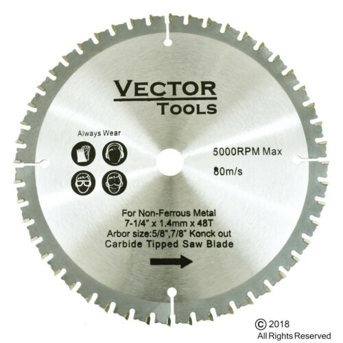 """Carbide Tipped Metal Cutting Saw Blade 7-1//4 48 Teeth  5//8 Arbor 7//8/"""" Knock Out"""