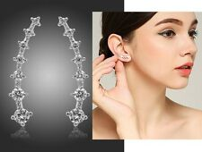 Minimal Delicate Crystal Silver Curved Bar Ear Climbers Crawlers Cuff Earrings